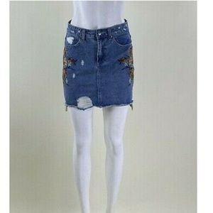 Free Heart Embroidered Distressed Denim Skirt